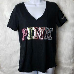 PINK Victoria's Secret Bling Sequin Black Tee